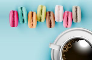 Hoog gedetailleerde kleurrijke macarons op blauwe achtergrond met een kop van koffie, vectorillustratie