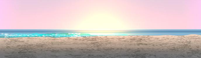 Realistisch landschap van een strand met zonsondergang / zonsopgang, vectorillustratie