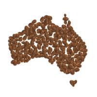 Realistische koffiebonen vormen de kaart van Australië, vectorillustratie