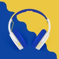 Realistische hoofdtelefoons, met draden op een kleurrijke achtergrond, vectorillustratie