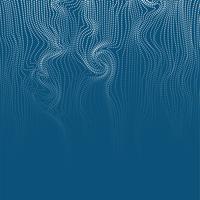 De golvende abstracte punten en de lijnen wervelen op blauwe achtergrond, vectorillustratie