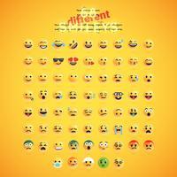 Realistische gele emoticon die voor een gele achtergrond, vectorillustratie wordt geplaatst vector