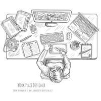 Ontwerper Workplace Sketch vector