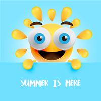 """Grappige zon-smiley met de titel """"zomer is hier"""", vectorillustratie"""