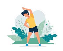 Gelukkige mens die in het park uitoefent. Vectorillustratie in vlakke stijl, concept illustratie voor een gezonde levensstijl, sport, oefenen.