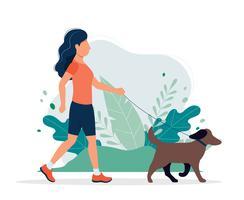 Gelukkige vrouw met een hond in het park. Vectorillustratie in vlakke stijl, concept illustratie voor een gezonde levensstijl, sport, oefenen.
