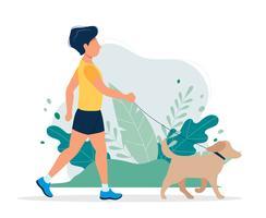 Gelukkige man met een hond in het park. Vectorillustratie in vlakke stijl, concept illustratie voor een gezonde levensstijl, sport, oefenen.