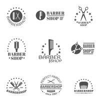 kapper winkel label set vector