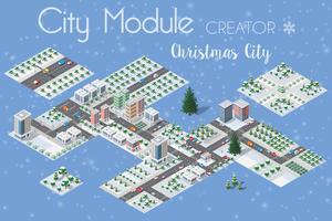 Een reeks stedelijke Kerstmis van de winter vector