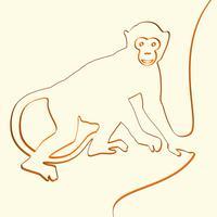 3D de aap dierlijke illustratie van de lijnkunst, vectorillustratie