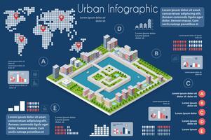 Stadsinfographics van de stad met huizen vector