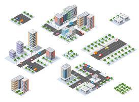 Een set van stedelijke stadsdelen in de winter vector