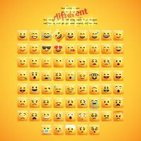 Hoog gedetailleerde vierkante gele emoticon die op een gele achtergrond, vectorillustratie wordt geplaatst vector