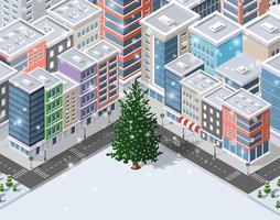 Kerst winter stad achtergrond vector