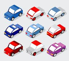 Isometrische set auto's en vrachtwagens vector
