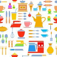 Naadloze tegel patroon keuken vector