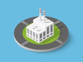 Isometrische stad stadsfabriek pictogram vector