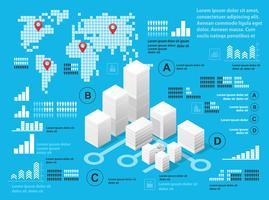 Blauwe illustratie infographics vector