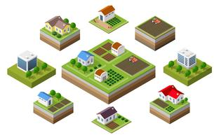 Boerderij set huizen vector