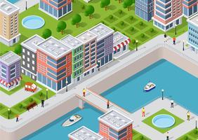 Isometrische illustratie van een waterkant van de stad