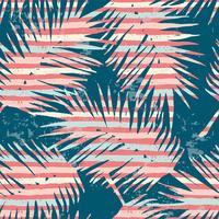 Naadloos exotisch patroon met tropische planten en strepenachtergrond. vector