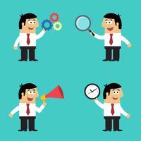 Bedrijfslevenwerknemer met bureaugadgets vector