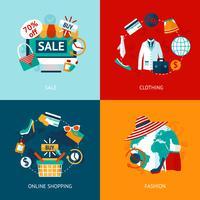 Winkelen kleding plat pictogrammen instellen vector
