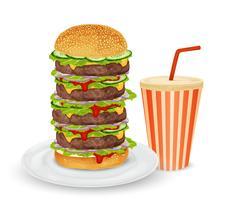 Grote hamburger en drankje vector
