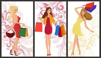Winkelen meisje banner vector