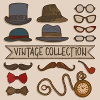 Vintage hoeden en glazen ingesteld