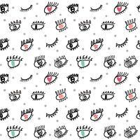 wimpers doodle naadloze patroon vector
