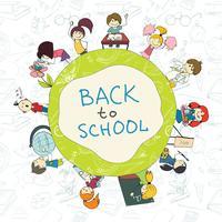 Kids school embleem schets poster vector