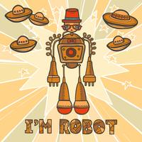 Hipster robotontwerp vector