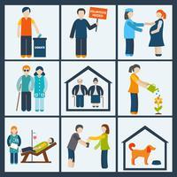 Sociale diensten pictogrammen instellen vector