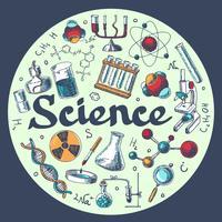 Chemie onderzoek embleem sjabloon schets
