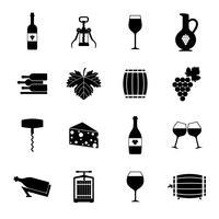 Wijnpictogrammen instellen zwart vector
