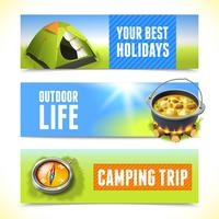 Camping horizontale banners vector