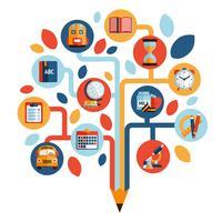 Boom met onderwijs pictogrammen vector