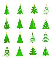 Kerstboom pictogrammen plat vector