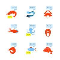 Zeevruchten prijs pictogrammen instellen