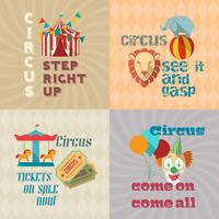 Circus vintage plat pictogrammen samenstelling