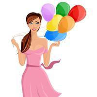 Vrouw ballon portret vector