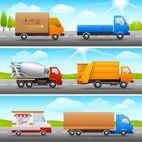 Realistische vrachtwagenpictogrammen op weg vector