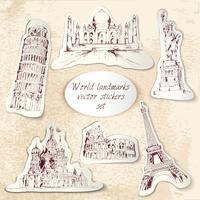 Wereld landmark stickers