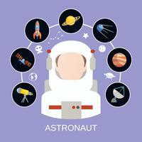 Astronaut en ruimtepictogrammen