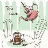 Theepot en kopje thee tijd poster vector