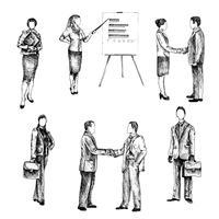 Mensen uit het bedrijfsleven schetsen set