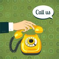 Hand met oude telefoon vector