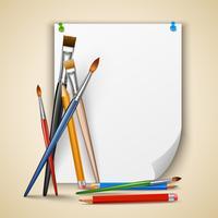 Kwast en papier penseel vector