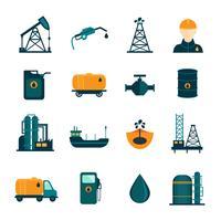 Olieindustrie vlakke pictogrammen